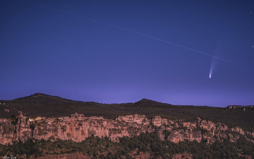 Neowise Comet and ISS over Siurana