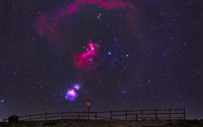 Orion's Belt behind Pla de la Guàrdia widefield
