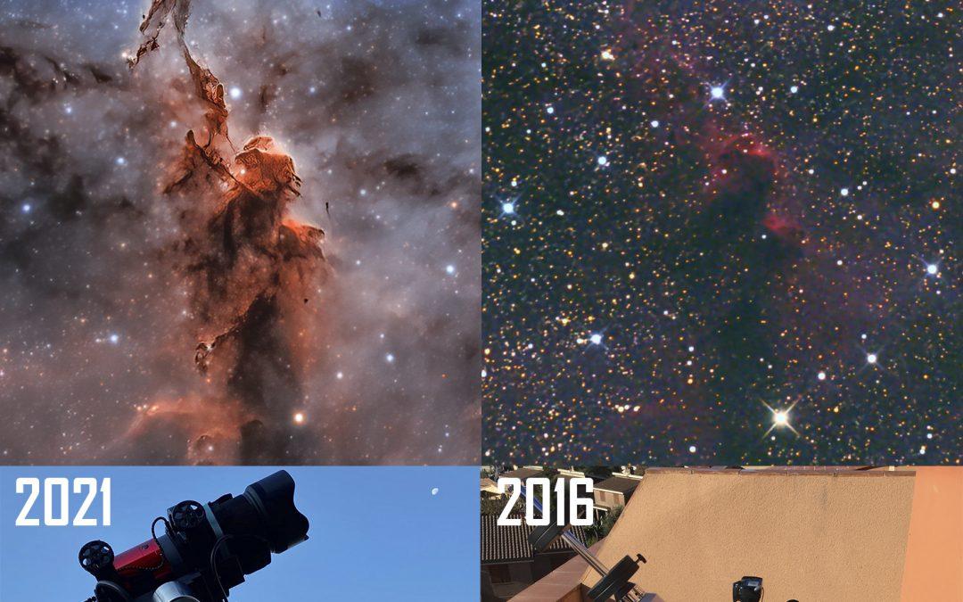 IC 1396: a 5 year evolution